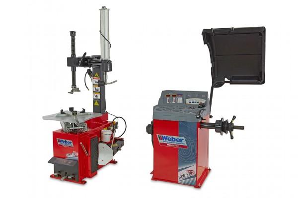 Weber Demontage/ Montagemaschine mit Reifenwuchtmaschinensatz