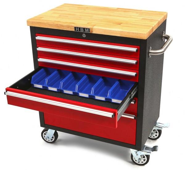 Werkzeugwagen mit Holzablage 6 Schubladen