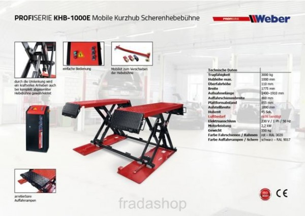 Weber PROFISERIE KHB - 1000E Mobile Kurzhub Scherenhebebühne