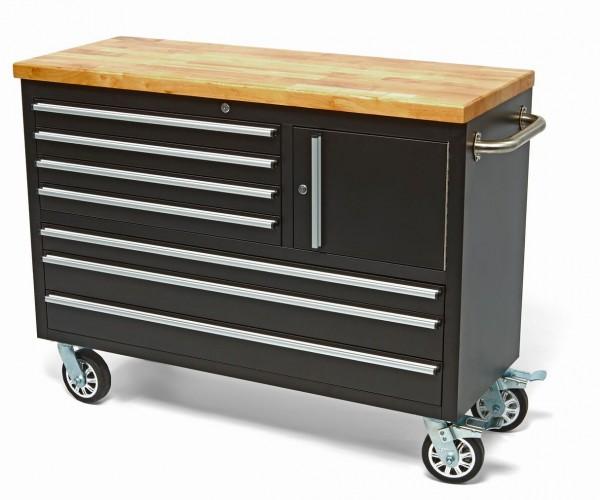 Werkstattwagen 7 Laden mit Holzblatt- Schwarz