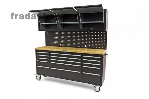 Werkbank mit Schrankwand und Holzplatte Schwarz 182cm