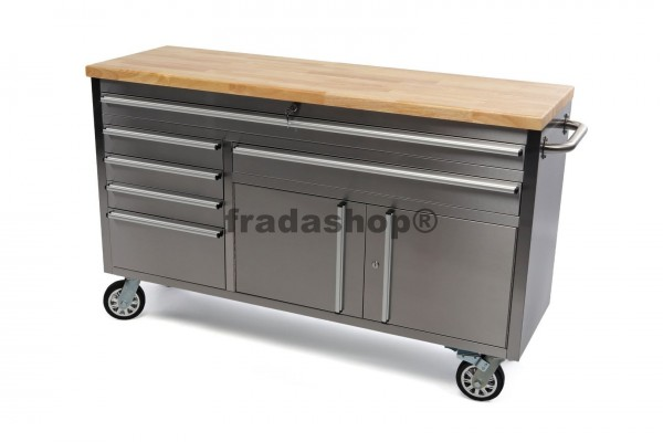 Werkstattwagen Edelstahl mit Holztafel - Angebot