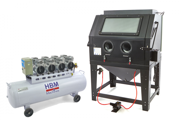 Sandstrahlkabine SBC 990 mit 3000 W Leiseläufer Kompressor